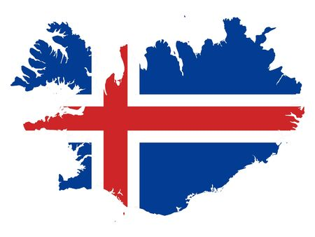 vector illustration of Map of Iceland with national flag