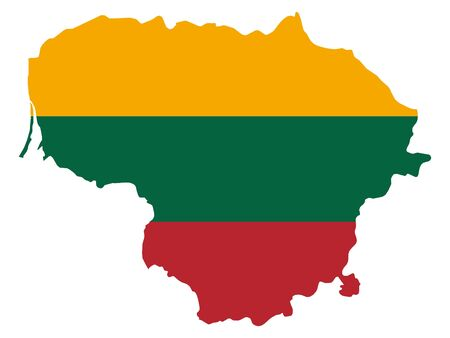 vector illustration of Map of Lithuania with national flag Ilustración de vector