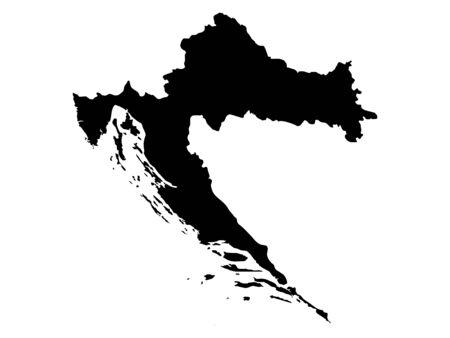 vector illustration of Black Map of Croatia Vetores