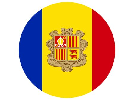 vector illustration of Circle Flag of Andorra