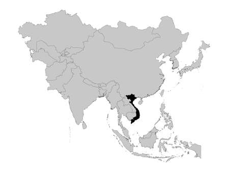 vector illustration of Black Map of Vietnam on Asia map