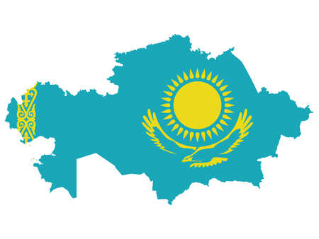 vector illustration of Map of Kazakhstan with national flag on Asia map