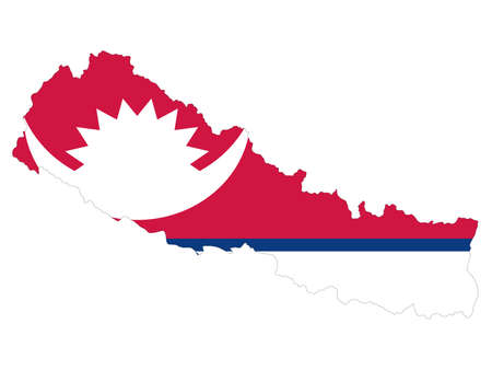 vector illustration of Map of Nepal with national flag 向量圖像