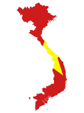 vector illustration of Map of Vietnam with national flag Illusztráció