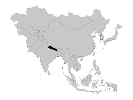 vector illustration of Black Map of Nepal on Asia map