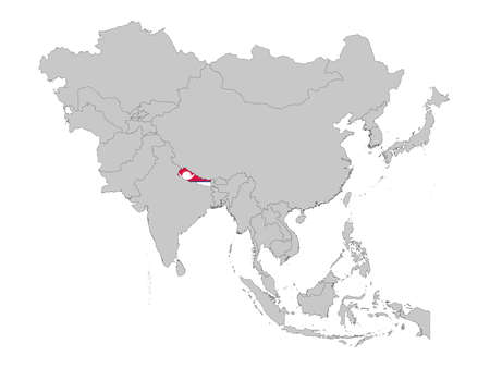 vector illustration of Map of Nepal with national flag on Asia map
