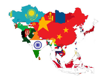 vector illustration of Map of Asia countries with national flag