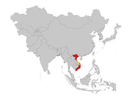 vector illustration of Map of Vietnam with national flag on Asia map Illusztráció