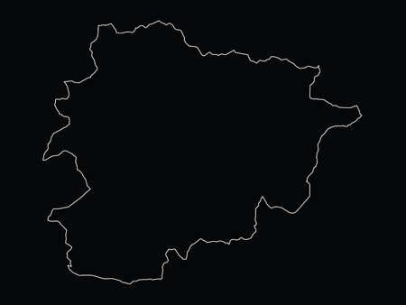 vector illustration of White map of Andorra on black background