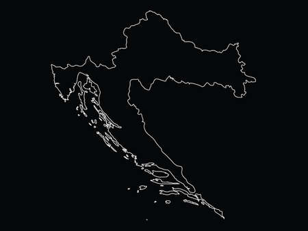 Vector illustration of Outline map of Croatia on black background  イラスト・ベクター素材
