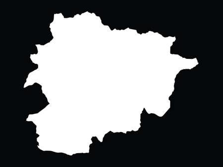 vector illustration of White map of Andorra on black background Vektorové ilustrace