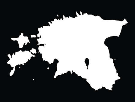 vector illustration of White map of Estonia on black background