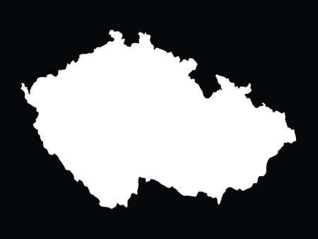 vector illustration of White map of Czech Republic on black background 向量圖像