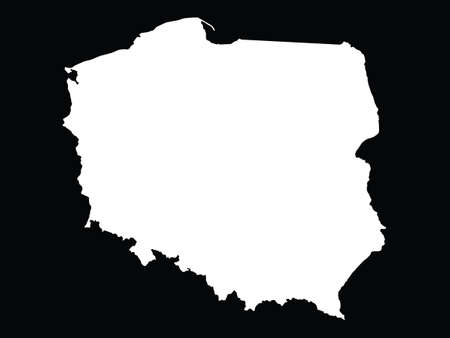 vector illustration of White map of Poland on black background