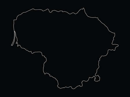 Vector illustration of Outline map of Lithuania on black background