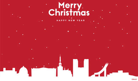 vector illustration of Marry Christmas and Happy new year red greeting card with white cityscape of Oslo