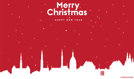 vector illustration of Marry Christmas and Happy new year red greeting card with white cityscape of Copenhagen Ilustração