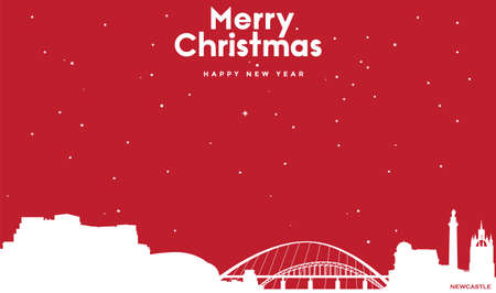 vector illustration of Marry Christmas and Happy new year red greeting card with white cityscape of Newcastle