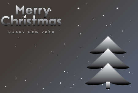 vector illustration of Marry Christmas and Happy new year Ombre greeting card with Christmas tree