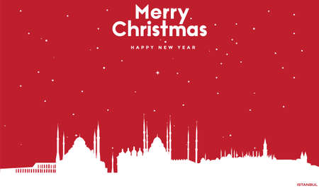 vector illustration of Marry Christmas and Happy new year red greeting card with white cityscape of Istanbul Ilustração