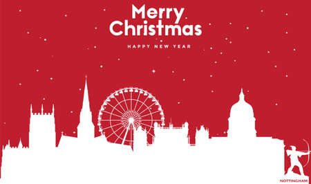 vector illustration of Marry Christmas and Happy new year red greeting card with white cityscape of Nottingham Ilustração