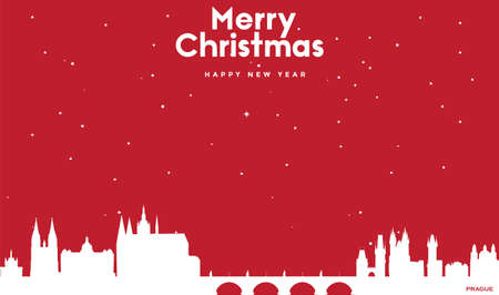 vector illustration of Marry Christmas and Happy new year red greeting card with white cityscape of Prague Ilustração