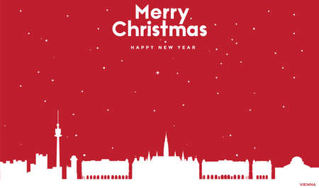 vector illustration of Marry Christmas and Happy new year red greeting card with white cityscape of Vienna Ilustração