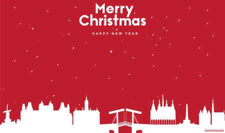 vector illustration of Marry Christmas and Happy new year red greeting card with white cityscape of Amsterdam