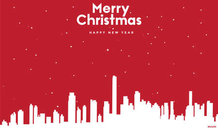 vector illustration of Marry Christmas and Happy new year red greeting card with white cityscape of Miami