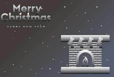 vector illustration of Marry Christmas and Happy new year Ombre greeting card with fireplace Ilustração
