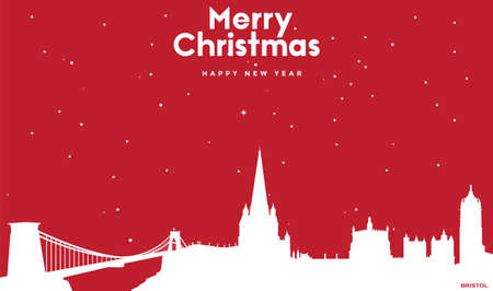 vector illustration of Marry Christmas and Happy new year red greeting card with white cityscape of Bristol