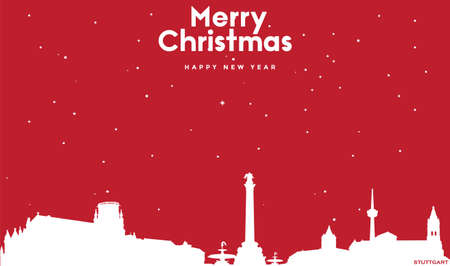 vector illustration of Marry Christmas and Happy new year red greeting card with white cityscape of Stuttgart