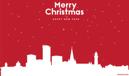 vector illustration of Marry Christmas and Happy new year red greeting card with white cityscape of Birmingham