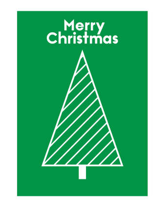 vector illustration of Marry Christmas green greeting card with Christmas tree