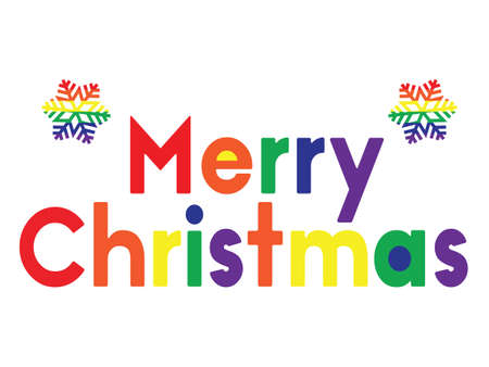 vector illustration of Marry Christmas rainbow colored greeting card with snowflake