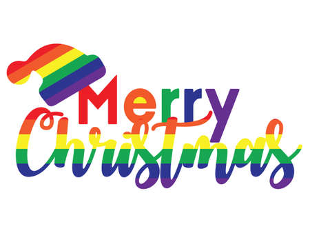 vector illustration of Marry Christmas rainbow colored greeting card with Santa Clause hat Ilustração