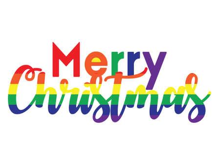 vector illustration of Marry Christmas rainbow colored greeting card Ilustração