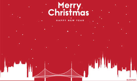vector illustration of Marry Christmas and Happy new year red greeting card with white cityscape of Budapest