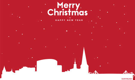 vector illustration of Marry Christmas and Happy new year red greeting card with white cityscape of Dortmund