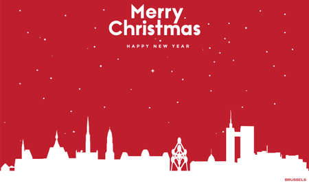 vector illustration of Marry Christmas and Happy new year red greeting card with white cityscape of Brussels Ilustração
