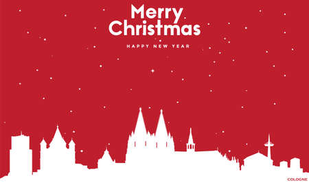 vector illustration of Marry Christmas and Happy new year red greeting card with white cityscape of Cologne