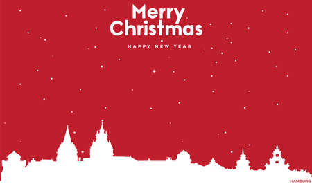 vector illustration of Marry Christmas and Happy new year red greeting card with white cityscape of Hamburg Ilustração