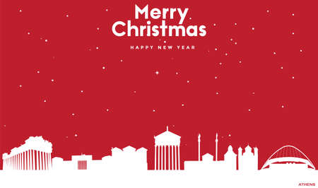 vector illustration of Marry Christmas and Happy new year red greeting card with white cityscape of Athens