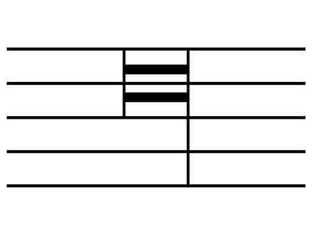 Black music symbol of quadruple whole note on staff lines