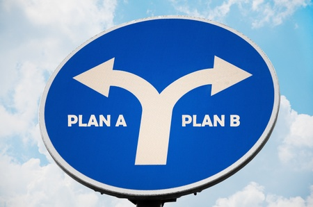business dilemma: Plan A and B sign