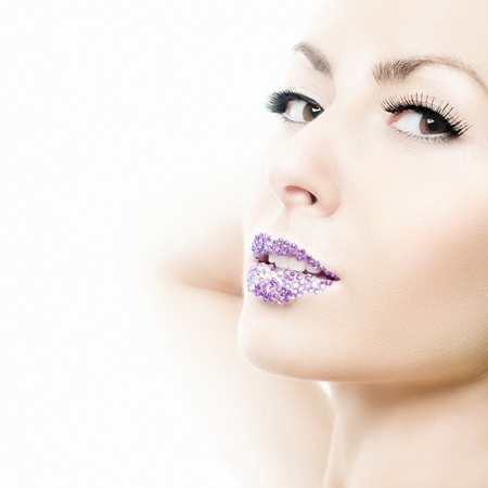 Beauty portrait of a girl with crystal lips Stock Photo