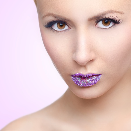 Beauty portrait - Girl with crystal lips