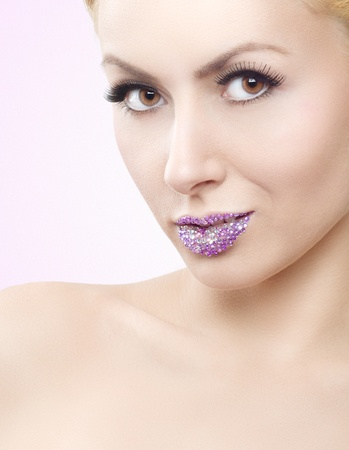 Attractive girl with crystal lips Stock Photo