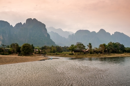 nam: Nam Song River with Mountains