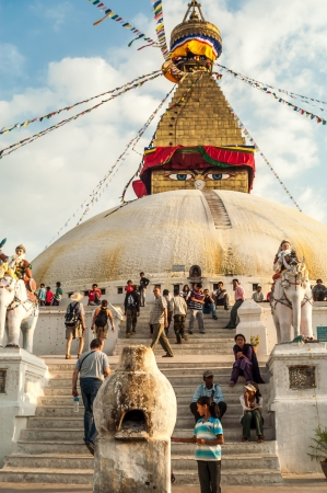 bodnath: Stupa in Bodnath  Kathmandu Valley  Editorial